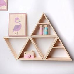 1/2 Tiers Triangle Wall Mounted Wood Shelf Display Stand Sto