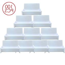 100pcs White Acrylic Business Card Holder Display Stand for