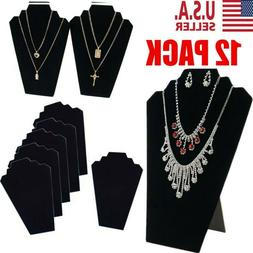 12 PACK NECKLACE JEWELRY DISPLAY STAND Black Velvet Pendant