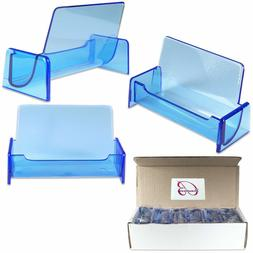 12PCS Clear Blue Acrylic Business Card Holder Display Stand
