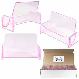 12PCS Clear Pink Acrylic Office Business Name Card Holder Di