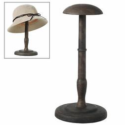 MyGift 13-Inch Antique Brown Wood Hat & Wig Display Stand