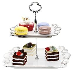 2 Tier Ceramic Cupcake and Dessert Display Stand, Serving Pl