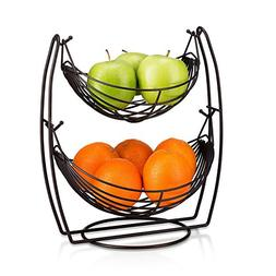 2 Tier Fruit Basket Double Hammock Kitchen Produce Storage O