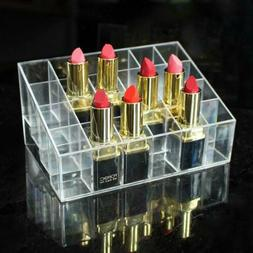 24 Clear Lipstick Holder Acrylic Display Stand Cosmetic Orga