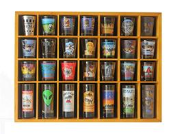28 Shot Glass Shooter Display Case Holder Cabinet Rack, soli
