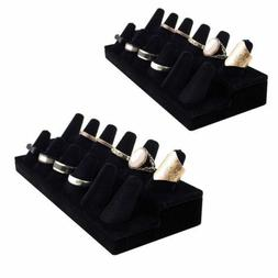 2pk Black Velvet 12 Ring Finger Display Jewelry Holder Retai