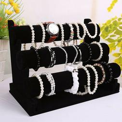 3-Bar Jewelry Watch Bracelet Chain Holder Display Stand Orga