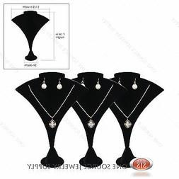 3 Necklace Earring Pendant Jewelry Display Black Velvet Disp
