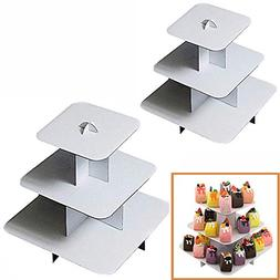 Adorox 2Pcs 3-Tier  White Square or Round Cardboard Cupcake