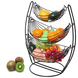 3 Tier Black Triple Hammock Fruit/Vegetables/Produce Metal B