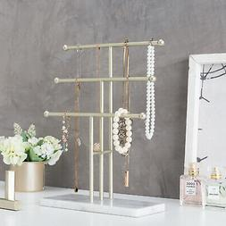 MyGift 3 Tier Brass Tone Metal T Bar Necklace Display Stand