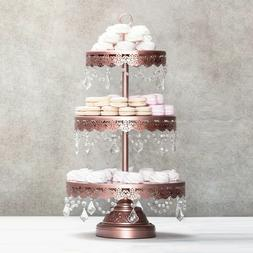 3-TIER CUPCAKE STAND Metal Crystal Dessert Wedding Party Eve