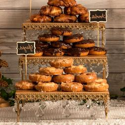 3-TIER DESSERT PLATTER Metal Crystal Wedding Event Party Cup