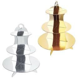 3 Tier Gold/Silver Metallic Cupcake Stand Display Pastry Des