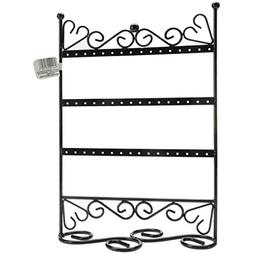 "3 Tier Metal Earring Stand W/Scroll 9""X12""X4""-Black"