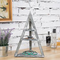 MyGift 3 Tier Pyramid Shaped Gray Wood Jewelry and Trinket D