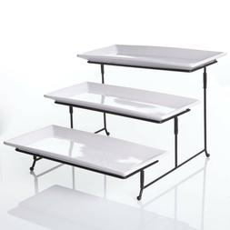 3 Tier Rectangular Serving Platter, Three Tiered Cake Tray S