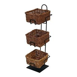 3-Tier 3 Square Willow Basket Counter Display Rack