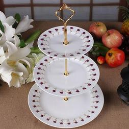 3-Tier stainless Steel Wedding Birthday Party Cake Plate <fo