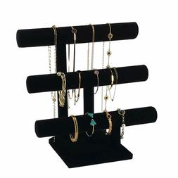 3 TIER T-BAR BLACK VELVET JEWELRY DISPLAY STAND NECKLACE BRA