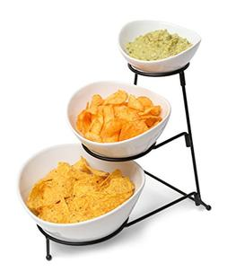 3 Tiered Chip and Dip Set with Metal Rack, Three Tier Desser