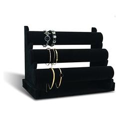 7TH VELVET 3 Tiers Bracelet Holder, Black Velvet Jewelry Org