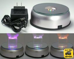 "4"" Unique 360` Rotating 7 LED Colored Light Crystal Display"