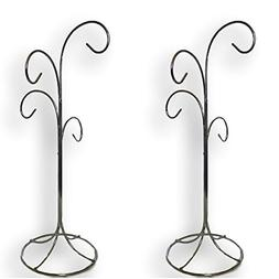 """4 Arm Ornament Stand - 2 Stands - Smooth Chrome Finish - 13"""""""