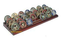 4-Row Challenge Coin Display Stand Rack, Solid Wood, Walnut