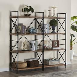 4 shelf industrial double bookcase