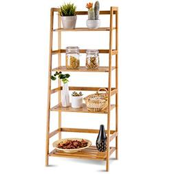 COSTWAY Bamboo Ladder Shelf Foldable Multifunctional Plant F