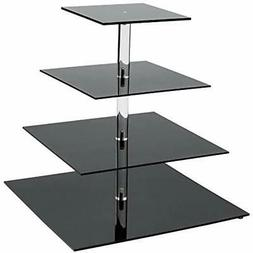 SinoAcrylic 4 Tier Square Cupcake Stand With Fantastic Plate