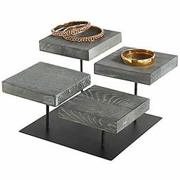 MyGift 4-Tier Industrial Rustic Wood Jewelry Display Riser S