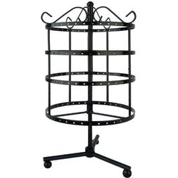 4 Tiers Black Rotating Spin Table Top 92 pairs Earring Holde