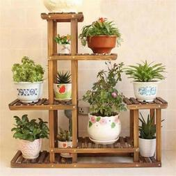 5 Tier 10 Pots Wooden Plant Flower Herb Display Stand Shelf