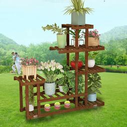 5 Tier Cypress Wooden Shelf Flower Pot Plant Stand Display I