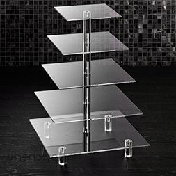 Hayley Cherie 5-Tier Square Cupcake Stand - Acrylic Tiered C