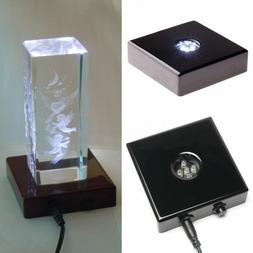 5 LED White Lights Stand Wooden Base USB Crystal Display AC