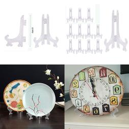 6'' Clear Plastic Easel 12Pcs Plate Ornament Display Stand D