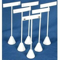 """6 Earring T Stand White Leather Showcase Display 6.75""""...NEW"""