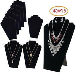 6 PIECES NECKLACE JEWELRY DISPLAY STAND Black Velvet Pendant