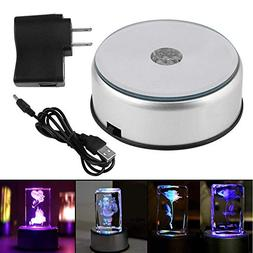"""4"""" 7 LED Display Base for Crystals Glass Art,Colorful Light"""