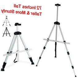 T-Sign 72'' Tall Display Easel Stand, Aluminum Metal Tripod