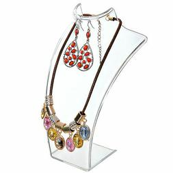 8-inch Clear Acrylic Necklace & Earring Jewelry 3D Bust Disp