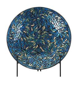 IMAX 80034 Peacock Mosaic Charger and Stand in Blue – Anti