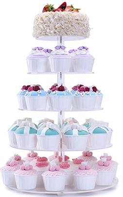 BonNoces 5 Tiers Round Acrylic Pastry Wedding Cupcake Stands
