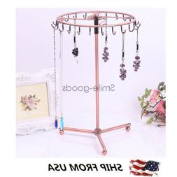 Jewelry Display Stand Rotating Holder Earring Necklace Organ