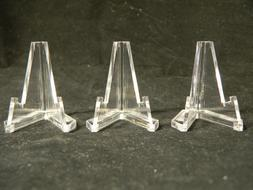 Lot 3 Small Acrylic Easel Display Stands For Artifacts - Col