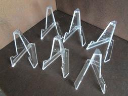 Lot of 6 *Small Plus* Clear Acrylic Display Stand Easels
